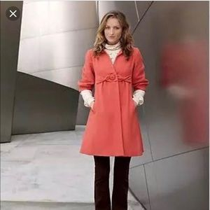 Anthropologie Tabitha Coral Persimmon Coat